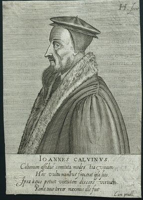 Profile portrait of John Calvin Poster Art Print by German School