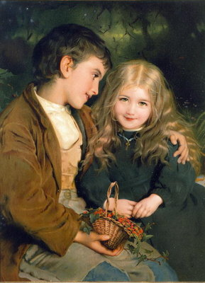 Little Sweethearts, from a Pears Annual, c.1880 Poster Art Print by English School