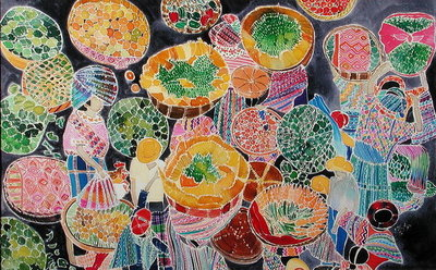Baskets at Market (coloured inks on silk) by Hilary Simon - print