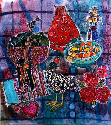 Guatemalan Artefacts, 2006 (dyes on silk) by Hilary Simon - print