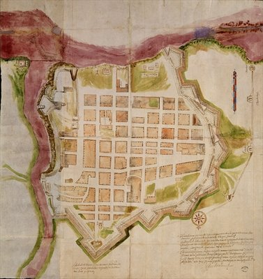 Fine Art Print of The City of Santo Domingo, 1608 by Spanish School
