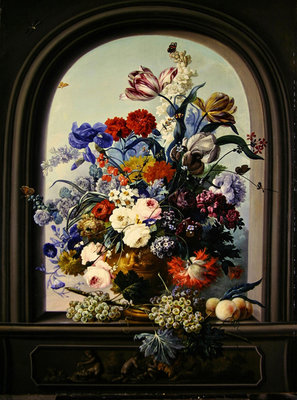 Fine Art Print of Still life of a niche with flowers by Johann Baptist Drechsler