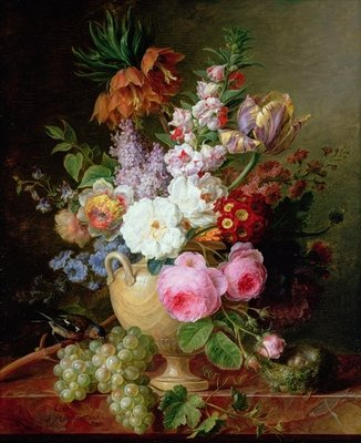 Still life with flowers and grapes Poster Art Print by Cornelis van Spaendonck