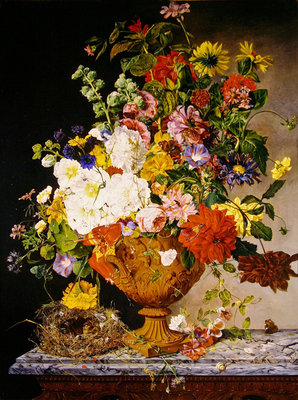 Fine Art Print of A sumptuous bouquet in a terracotta vase on a marble ledge by Emily Stannard