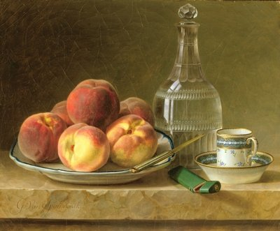 Fine Art Print of Still life with peaches by Gerard van Spaendonck