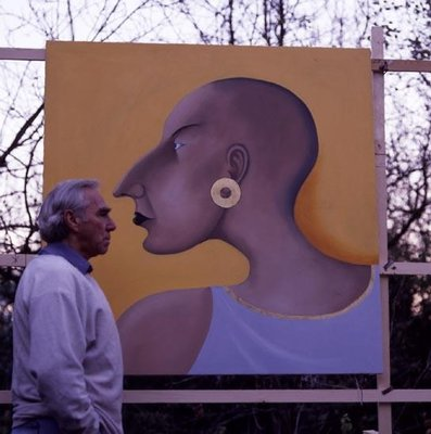 The artist in front of Women in Profile Series, No.7, 1998 Poster Art Print by John Wright
