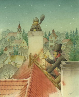 Chimney-sweep Christmas 02, 2001 (w/c on paper) by Kestutis Kasparavicius - print