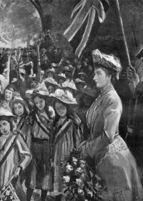 Fine Art Print of Princess Louise reviewing twenty thousand children in Battersea Park, illustration from 'The Graphic', July 19th 1902 by Sydney Prior Hall