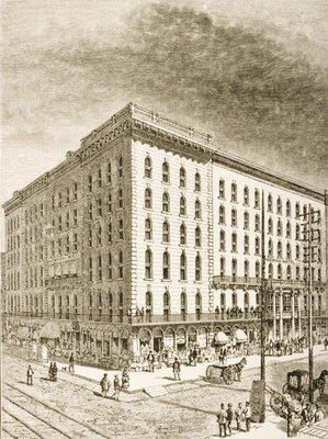 Fine Art Print of The Sherman Hotel, Chicago, in c.1870, from 'American Pictures' published by the Religious Tract Society, 1876 by English School