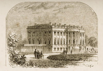 The White House, in c.1870, from 'American Pictures' published by the Religious Tract Society, 1876 Poster Art Print by English School
