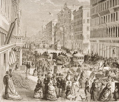 Broadway, New York City, c.1870, from 'American Pictures', published by The Religious Tract Society, 1876 Poster Art Print by English School