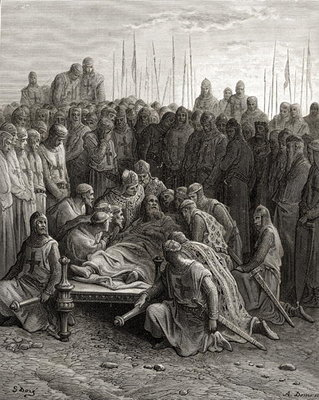 Death of Baldwin I Poster Art Print by Gustave Dore