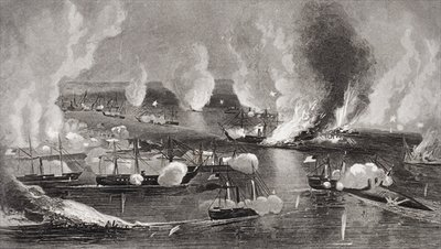 Fine Art Print of The capture of Forts Jackson amd St. Philip during the American Civil War, Louisiana 1862 by American School