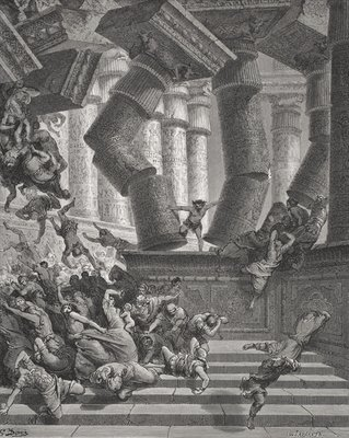 Fine Art Print of Death of Samson, Judges by Gustave Dore
