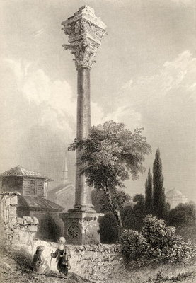 Fine Art Print of Column of Marcian, Istanbul, Turkey, engraved by H. Adlard by William Henry Bartlett
