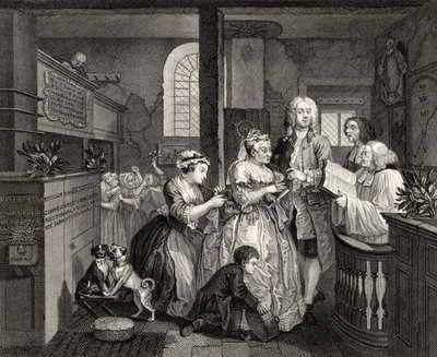 Fine Art Print of Married to an Old Maid, plate V from 'A Rake's Progress', from 'The Works of William Hogarth', published 1833 by William Hogarth