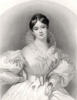 Letitia Elizabeth Landon, engraved by J. Thompson, from 'The National Portrait Gallery, Volume IV', published c.1820 Poster Art Print by G. Machse