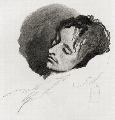 John Keats in his Last Illness, from 'The Century Illustrated Monthly Magazine', May to October, 1883 Poster Art Print by Joseph Severn