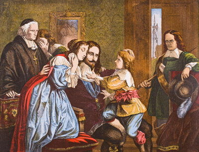 King Charles I of England taking leave of his children before his execution, from 'Old England's Worthies' by Lord Brougham and others, published London, c.1880s Poster Art Print by English School