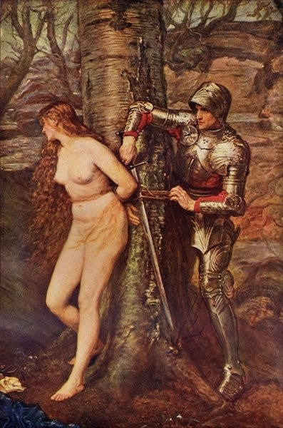 Fine Art Print of A Knight-errant - Figure of chivalric romance literature, illustration from 'Romance and Legend of Chivalry' by A. R. Hope Moncrieff by Sir John Everett Millais