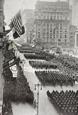 American troops marching down Fifth Avenue in New York on their return from Europe after the First World War, from 'L'Illustration', published in 1919 Poster Art Print by French School
