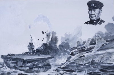 Japanese Kamikaze Attacks during World War II Poster Art Print by Graham Coton