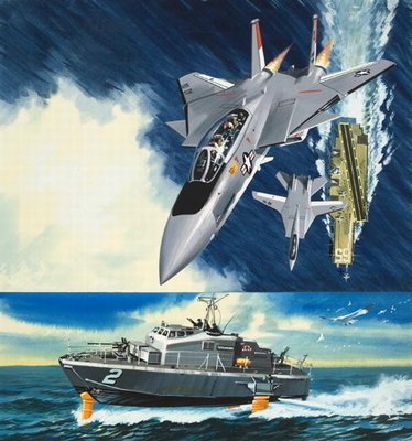 Aircraft and Hydrofoil Poster Art Print by Wilf Hardy