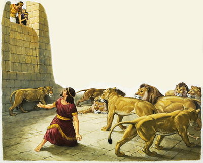 Fine Art Print of Daniel in the Lion's Den by Anonymous