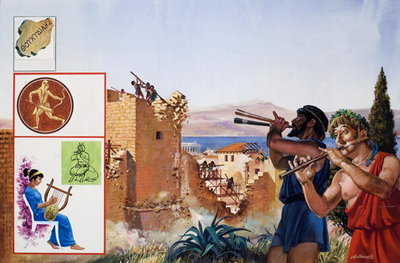 Relieved to have peace at last, the defeated Athenians set to work to demolish their defensive walls to the accompaniment of flutes, 1981 Poster Art Print by Andrew Howat