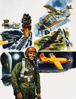 Fine Art Print of Unidentified pilot against a montage of aircraft by English School