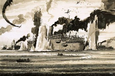 Fine Art Print of The sinking of the Lancastra off St Nazaire in June 1940 by John S. Smith