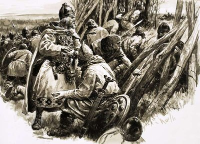 With a small band of loyal followers, King Alfred retreated into the marshes Poster Art Print by C.L. Doughty