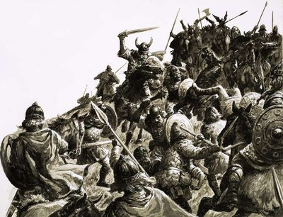 Fine Art Print of Danish Vikings attack the British forces under King Alfred by C.L. Doughty