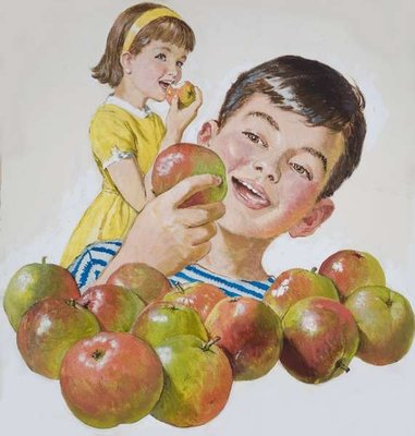 Boy and Girl with Apples Poster Art Print by Clive Uptton