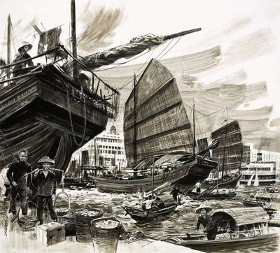 Fine Art Print of Unidentified scene of Chinese boats in harbour by William Francis Phillipps