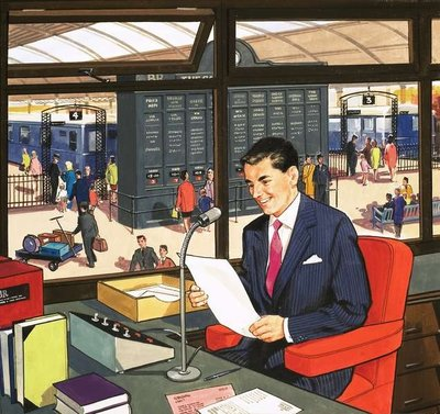 Railway Station Announcer Poster Art Print by English School