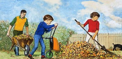 Sweeping up autumn leaves Poster Art Print by Clive Uptton