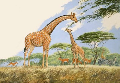 Fine Art Print of Nature Wonderland: High Tea for the Giraffe by English School