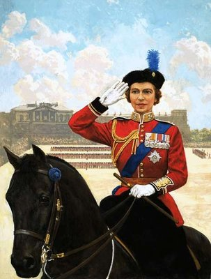 Queen Elizabeth II trooping the colour Poster Art Print by Clive Uptton