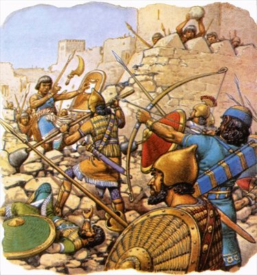 Ruthless Assyrian 'sappers' attacking giant walls with hammers and crowbars Poster Art Print by Pat Nicolle