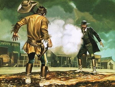 Wyatt Earp at work in Dodge City Poster Art Print by Ron Embleton
