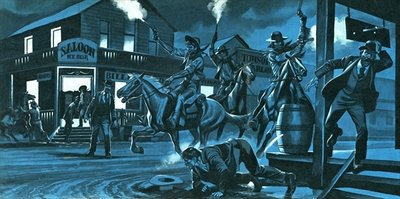 Dodge City at night Poster Art Print by Ron Embleton