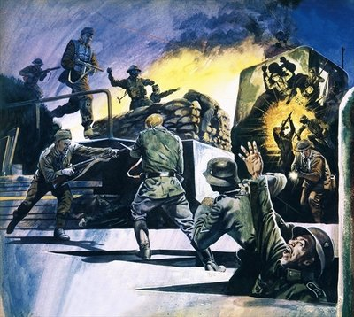 Fine Art Print of British Commandos in action by English School