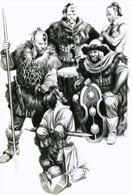 Attila the Hun torturing a captive Poster Art Print by Ron Embleton