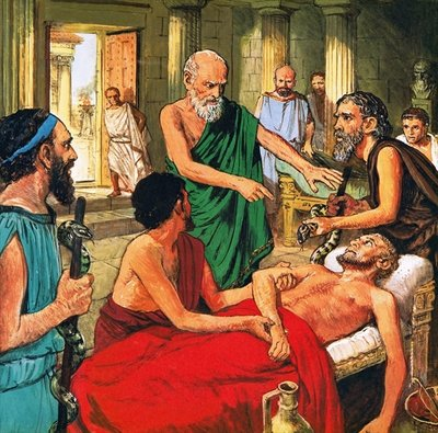 Fine Art Print of Hippocrates discouraging the use of primitive medical techniques by Clive Uptton
