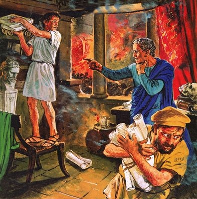 Galen trying to rescue his manuscripts during the great fire of Rome in AD 191 Poster Art Print by Clive Uptton