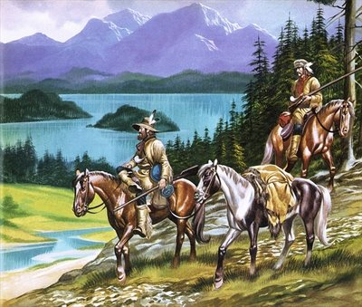 Trappers in the Wild West Poster Art Print by Ron Embleton