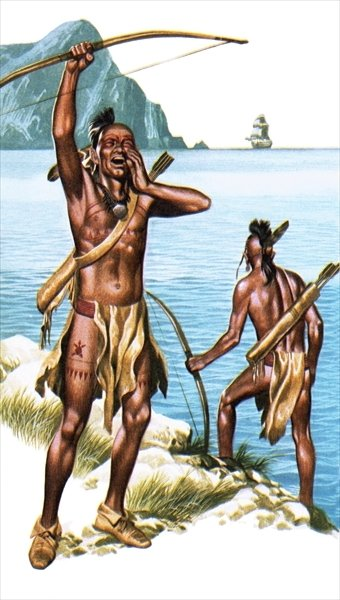 Red Indians seeing a European ship for the first time Poster Art Print by Ron Embleton