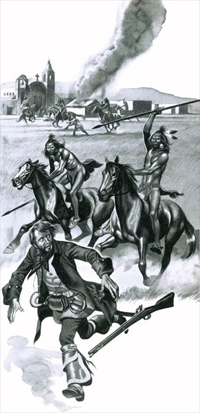 Comanche indians attacking Spanish missionaries in Texas Poster Art Print by Ron Embleton