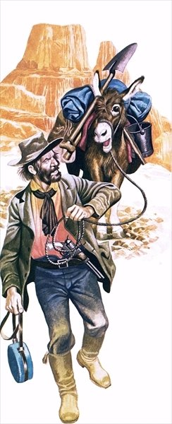 Californian gold prospector Poster Art Print by Ron Embleton